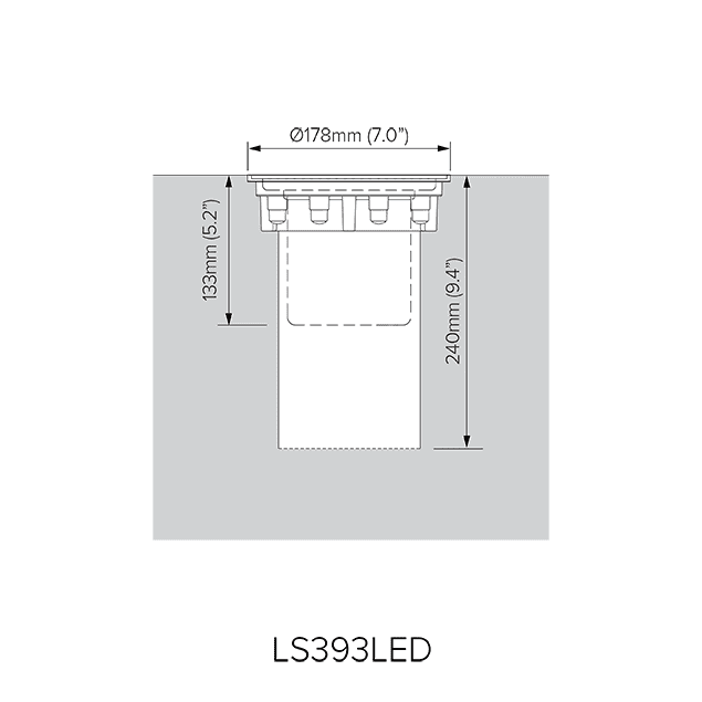 Pre-installation blockout dimensions for LS393LED.