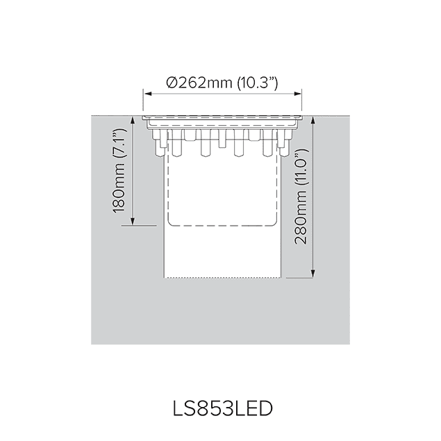 Pre-installation blockout dimensions for LS853LED.