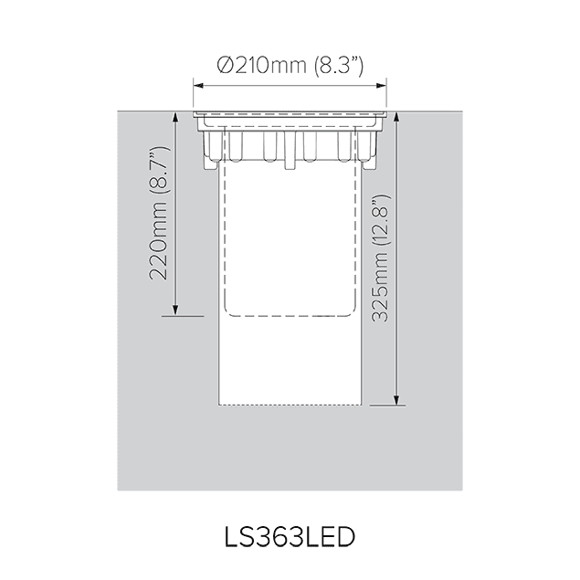Pre-installation blockout dimensions for LS363LED.