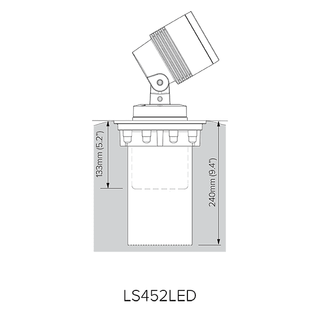 Pre-installation blockout dimensions for LS452LED.